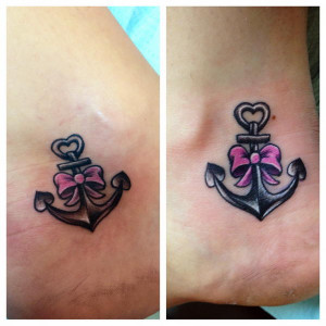 anchor with ribbon on ankle