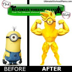 Funny Fitness Minion Before After photo #Funny #Fitness #minion More