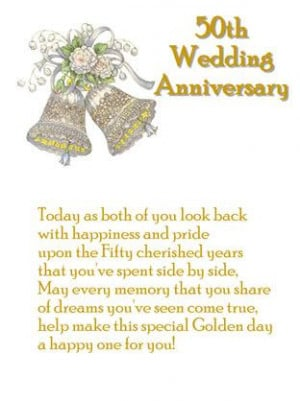 Golden Wedding Anniversary card with verse on outside