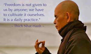 Freedom is not given by anyone. Thich Nhat Hanh #mindfulness #quote