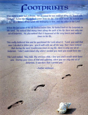 ... footprints sand footprints sand footprints poem footprints in the sand