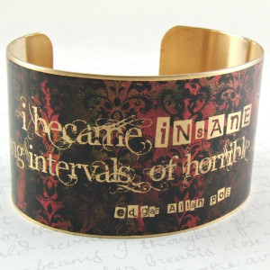 Edgar Allan Poe Jewelry - Insane and Sanity Literary Quote Brass Cuff ...
