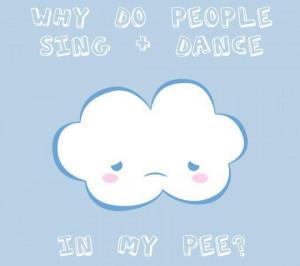 blue, cloud, cute, funny, kawaii, pee, rain, white