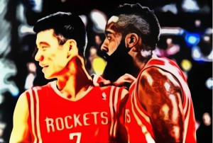 jeremy lin and james harden painting
