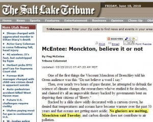 Itappears that Christopher Monckton and the U S Geological Survey