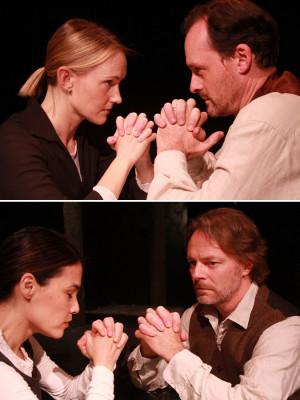 ... (bottom) as Elizabeth and John Proctor. Photos by Geoffrey Wade