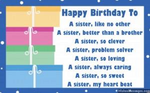 Cute birthdya card poem for sister