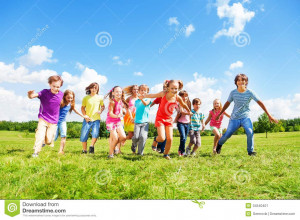 Large group of kids, friends boys and girls running in the park on ...