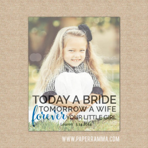 Father of the Bride Gift, Photo Quote Art, Forever Your Little Girl ...