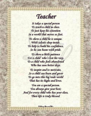 Teacher poem is about a special teacher. Poem may be personalized with ...