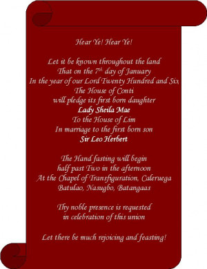 Medieval Birthday Party Invitations Pic