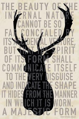 One Kings Lane - Woodsy Decor - Deer Head Quote