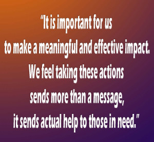 It is important for us to make a meaningful