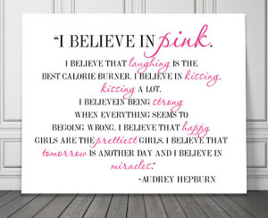 believe in pink Audrey Hepburn Typography Print office dorm fashion ...