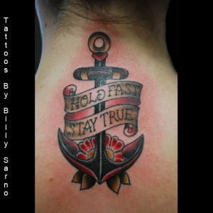 Anchor And Banner Tattoo