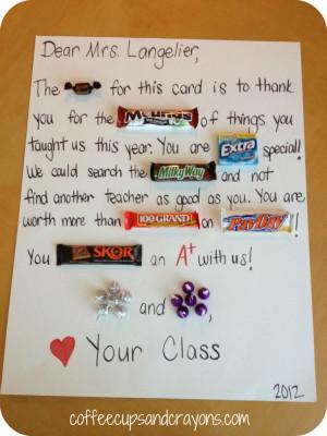 Teacher candy gram