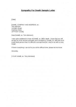 Sample Condolence Letter Death