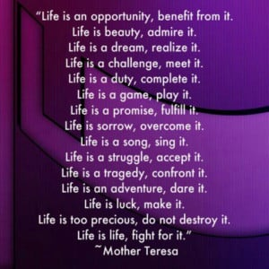 Mother Teresa. Life is precious, do not destroy it. Pro life!