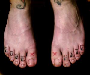 Love Hate Tattoo Leg fingers love-hate tattoo!