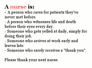 ... Nurses Day, through May 12, the birthday of Florence Nightingale, the