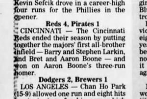 Barry Larkin, Sibling Baseball History
