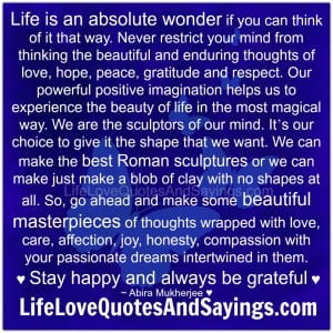 Life is an absolute wonder....