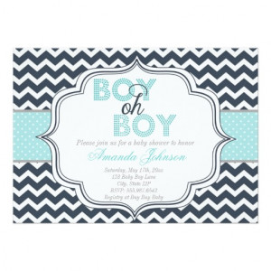 Boy Oh Boy Chic Chevron Baby Shower Invitation 5
