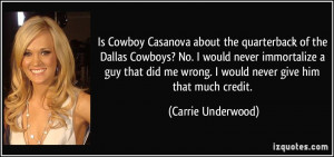 Is Cowboy Casanova about the quarterback of the Dallas Cowboys? No. I ...