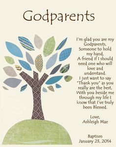 ... for Godparents Godfather or Godmother Gifts Godparent Baptism or