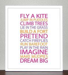 ... - BE A KID ( Pink, Purple, Orange) - 8x10 Poster. $20.00, via Etsy
