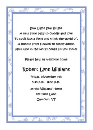 Welcome Home Baby Boy Footprints Shower Invitations areBecoming Very ...