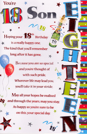... › Cards › Birthdays › 13-18 › You're 18 Son Birthday Card
