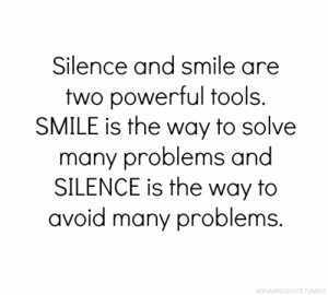 avoid, powerful, problems, quote, relate, silence, smile, solve, text ...