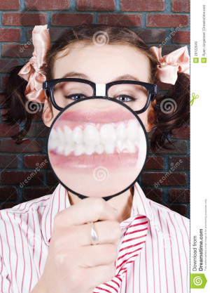 Female Student At The Dentist Showing Big White Teeth With A Big Smile ...