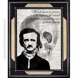 Edgar Allan Poe art print on dictionary art print book page art print ...