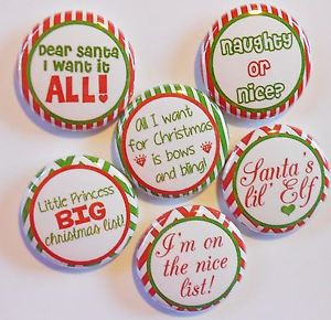 Cute-Christmas-Sayings-II-Flatback-Pin-Back-Buttons-1-for-Bows-Ect