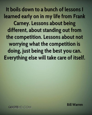 of lessons I learned early on in my life from Frank Carney. Lessons ...