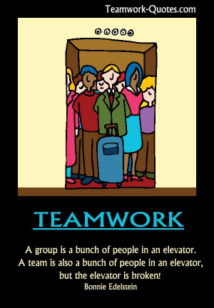 Fun teamwork poster - team stuck in broken elevator