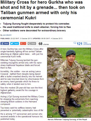 UK GURKHA SOLDIER RECEIVES THE MILITARY CROSS FOR GALLANTRY ON THE ...
