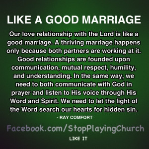 Our relationship with the Lord should be like a