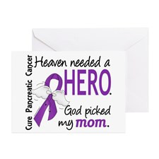 Pancreatic Cancer Heaven Needed Hero Greeting Card for