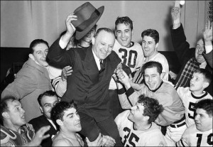 Chicago Bears players hoisted Coach George Halas on their shoulders ...