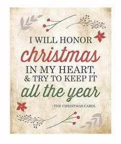 Typography Print / I Will Honor Christmas Charles Dickens Christmas ...