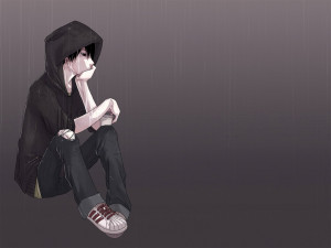 Lonely Emo Boy Sitting in the Rain high quality background theme