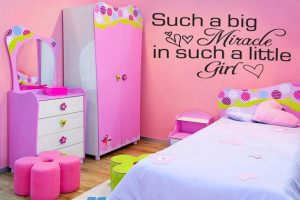 Big Miracle Little Girl Bedroom Wall Decal Quote (v90)