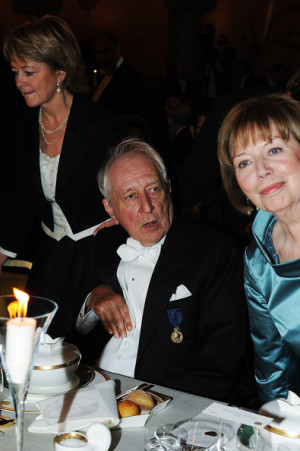 Tomas Transtromer and his wife Monica Transtromer attend the Nobel