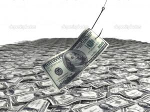 Dollar bill on a fishing hook - Stock Image