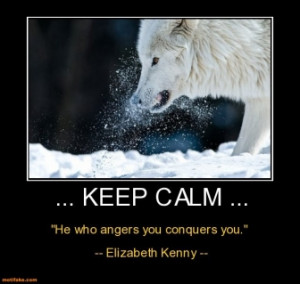 keep calm he who angers you conquers you elizabeth kenny an