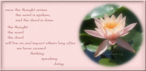 Deed quotes, thought word quotes, Buddhism Quotes