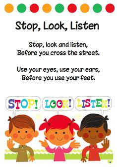 safety poem stop look listen free more playschool ideas road safety ...